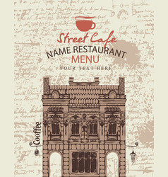 cover menu for a sidewalk cafe vector image vector image