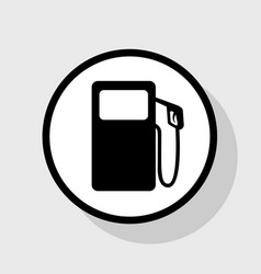 Gas pump sign flat black icon in white vector