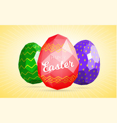 Happy easter card template with low polygonal eggs vector