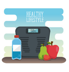 Healthy lifestyle desigh with scale and fruits vector