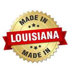 Made in louisiana gold badge with red ribbon vector