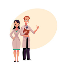male and female doctors in medical coats showing vector image vector image