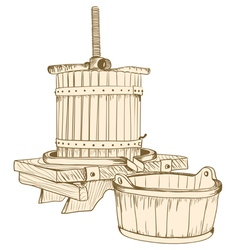 Old wine press vector