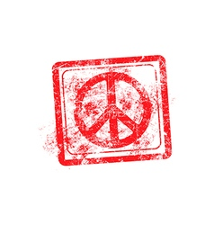 peace symbol red grunge rubber stamp vector image vector image