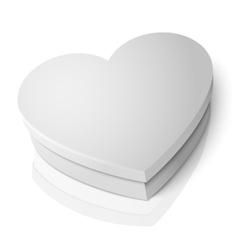 Realistic blank white heart shape box vector