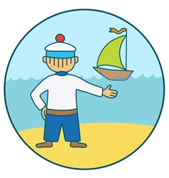 Sailor and the boat vector