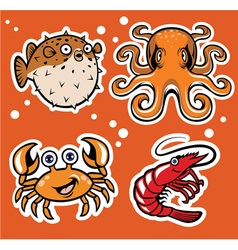sealife cartoon character pack vector image