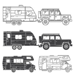 set of camper vans icons vector image