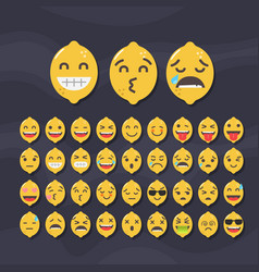 set of cute fruit smiley lemon emoticons vector image vector image