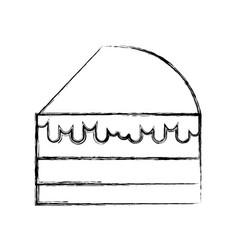 Sketch draw cake slice cartoon vector