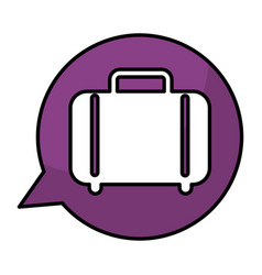 Speech bubble with suitcase travel isolated icon vector