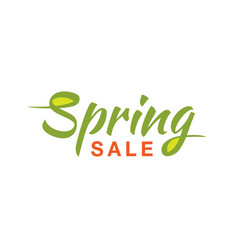 Spring sale calligraphic text on white background vector