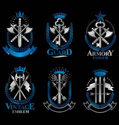 vintage weapon emblems set vintage design vector image vector image