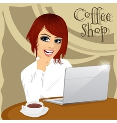 Young hipster woman with laptop in coffee shop vector