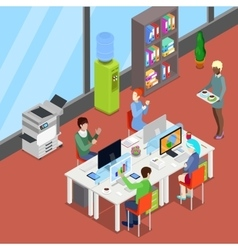 Isometric office open space with workers vector