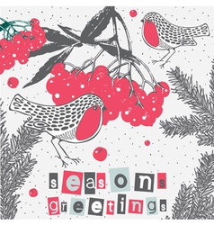 Berry sparrows christmas greetings vector