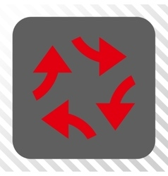 Swirl arrows rounded square button vector