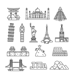 International country landmark line icons vector