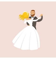 Newlyweds dancing waltz at the wedding party scene vector