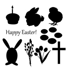 Set of easter silhouettes on the white vector