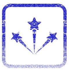 festive fireworks framed textured icon vector image