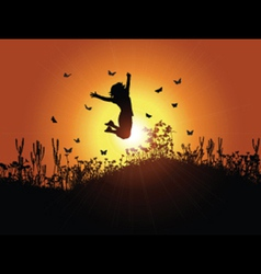 girl jumping against sunset sky 3001 vector image