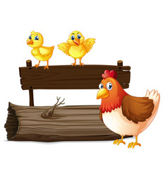 Wooden sign with two chicks and hen vector