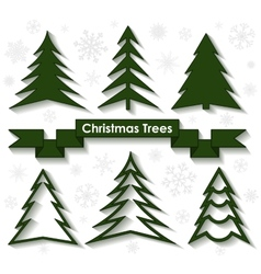 Set of christmas trees flat design vector