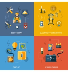 Electricity flat set vector