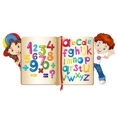 Children with book of numbers and alphabets vector