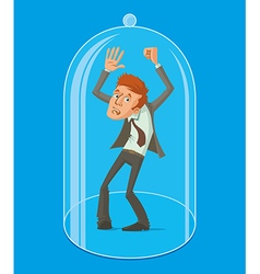 Man under a glass dome vector