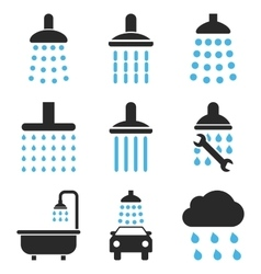 Shower and bath icon set vector