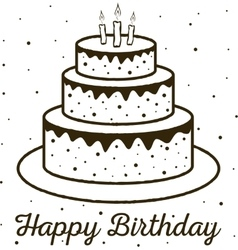 Happy birthday greeting card birthday cake vector
