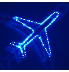 Glowing airplane with neon vector