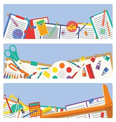 School supplies icon mixed for paper decoration vector