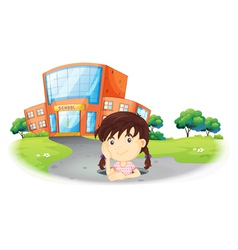 A young girl inside the hole in the road vector image vector image