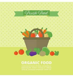 Banner card with fresh fruits and vegetables vector image vector image
