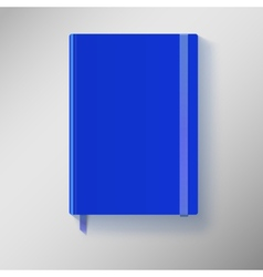 Blue copybook with elastic band and bookmark vector