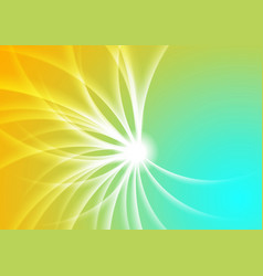 Bright cyan and yellow abstract swirl vector