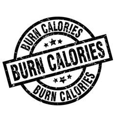 Burn calories round grunge black stamp vector