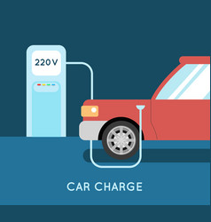 car charging eco station vector image