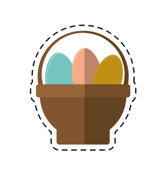 cartoon basket with easter egg vector image vector image