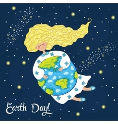 Cartoon earth day postcard vector