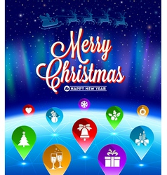 Christmas map pointers with flat icons vector image vector image
