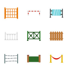 different fence icons set flat style vector image