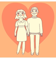 Drawn man and woman Young couple in love vector image vector image