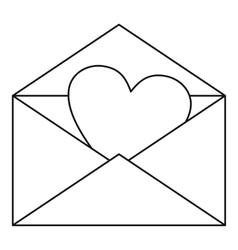 Envelope with valentine heart icon outline style vector image