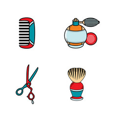 flat barber shop tools icon vector image