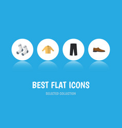 Flat icon clothes set of pants banyan male vector