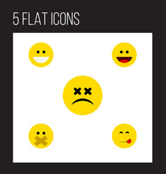 Flat icon expression set of hush laugh grin and vector